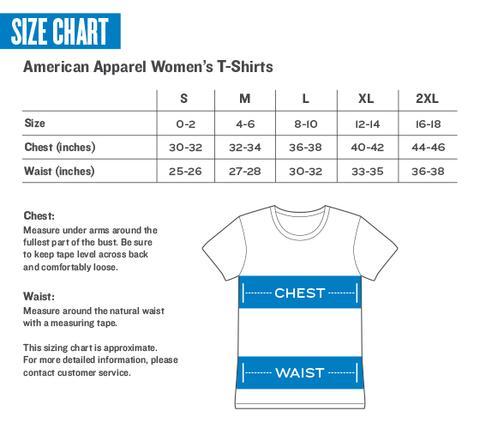 American Apparel Women's T-Shirt Sizing Chart